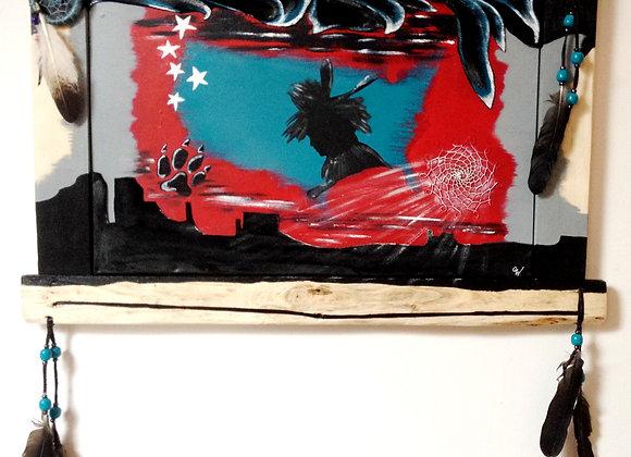 """Amérindien USA """"Free Spirit"""" - peinture originale sur bois et peau"""