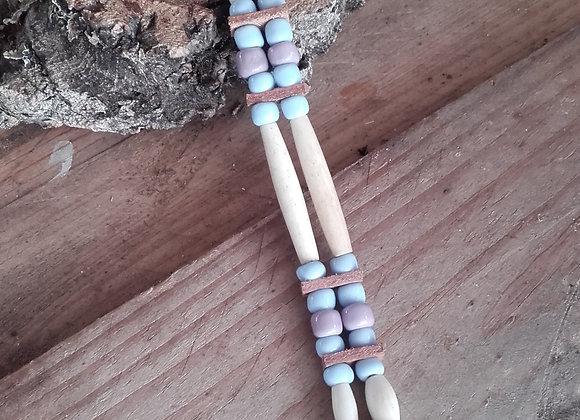Bracelet style Amérindien, 2 rangs, os, perles bleues et mauves - Ref: B 116