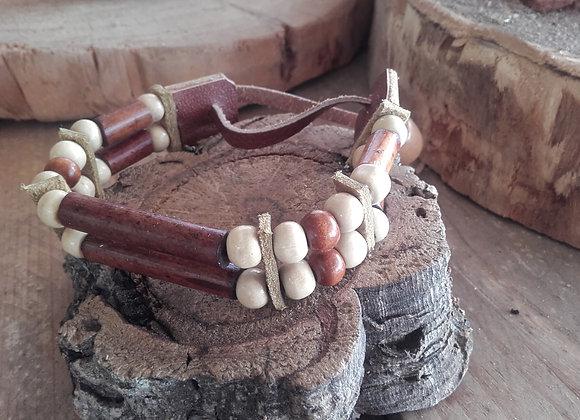 Bracelet style amérindien - entièrement perles bois, 2 rangs - Ref: B 333