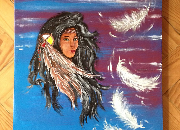 Dream feathers - peinture  originale signée - Amérindienne