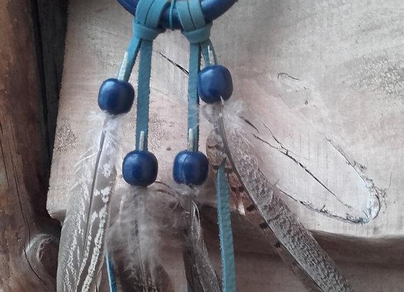 Attrape rêves bois peint en bleu foncé - ref: DC 180214