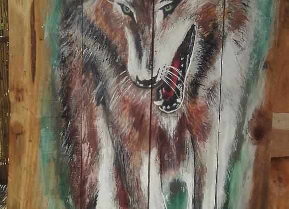Loup - peinture originale sur bois recyclé - ref: Le Loup