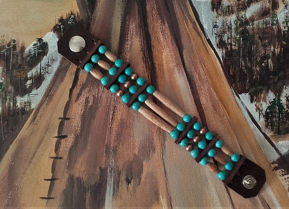 Bracelet amérindien 3 rangs, os, perles howlite turquoise - Ref: B 330
