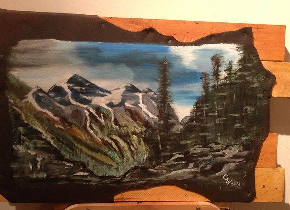 Dans les montagnes rocheuses - In the Rocky Mountains - peinture sur cuir