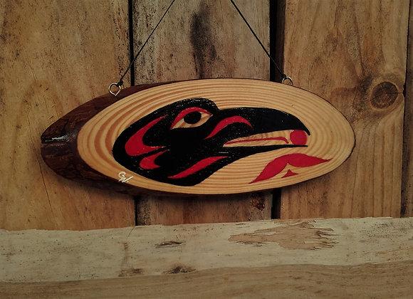 Peinture sur bois - Corbeau - Raven Haïda feather