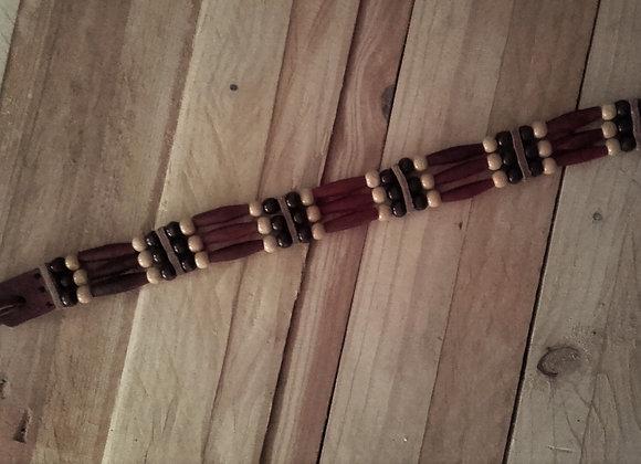 Choker style Amérindien 3 rangs en corne rouge - ref: C 85