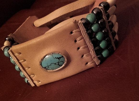 Bracelet Style Amérindien 5 rangs, perles howlite turquoise - Ref: B 218