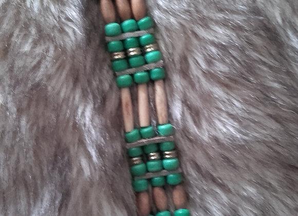 Bracelet Amérindien perles vert d'eau, os, perles bois - Ref: B 322