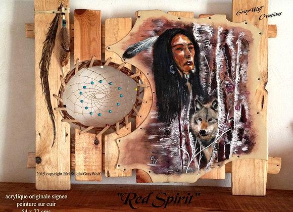 """""""Red Spirit"""" peinture sur cuir - amérindien - loup - Attrape-rêves"""