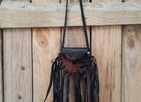 Médecine bag ou sac de souhait, cuir noir et marron - ref MB 16