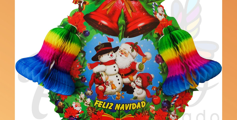 Corona con campanas navideñas