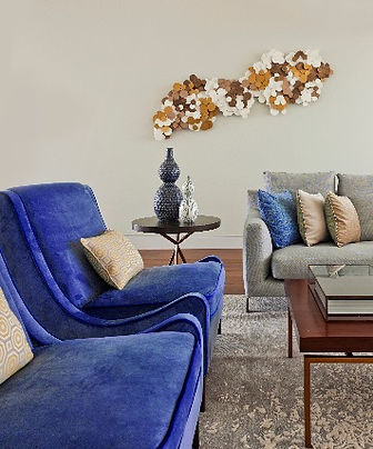 Blue velvet chairs in contemporary living room