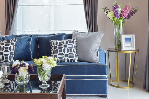 Navy blue modern classic sofa set with b