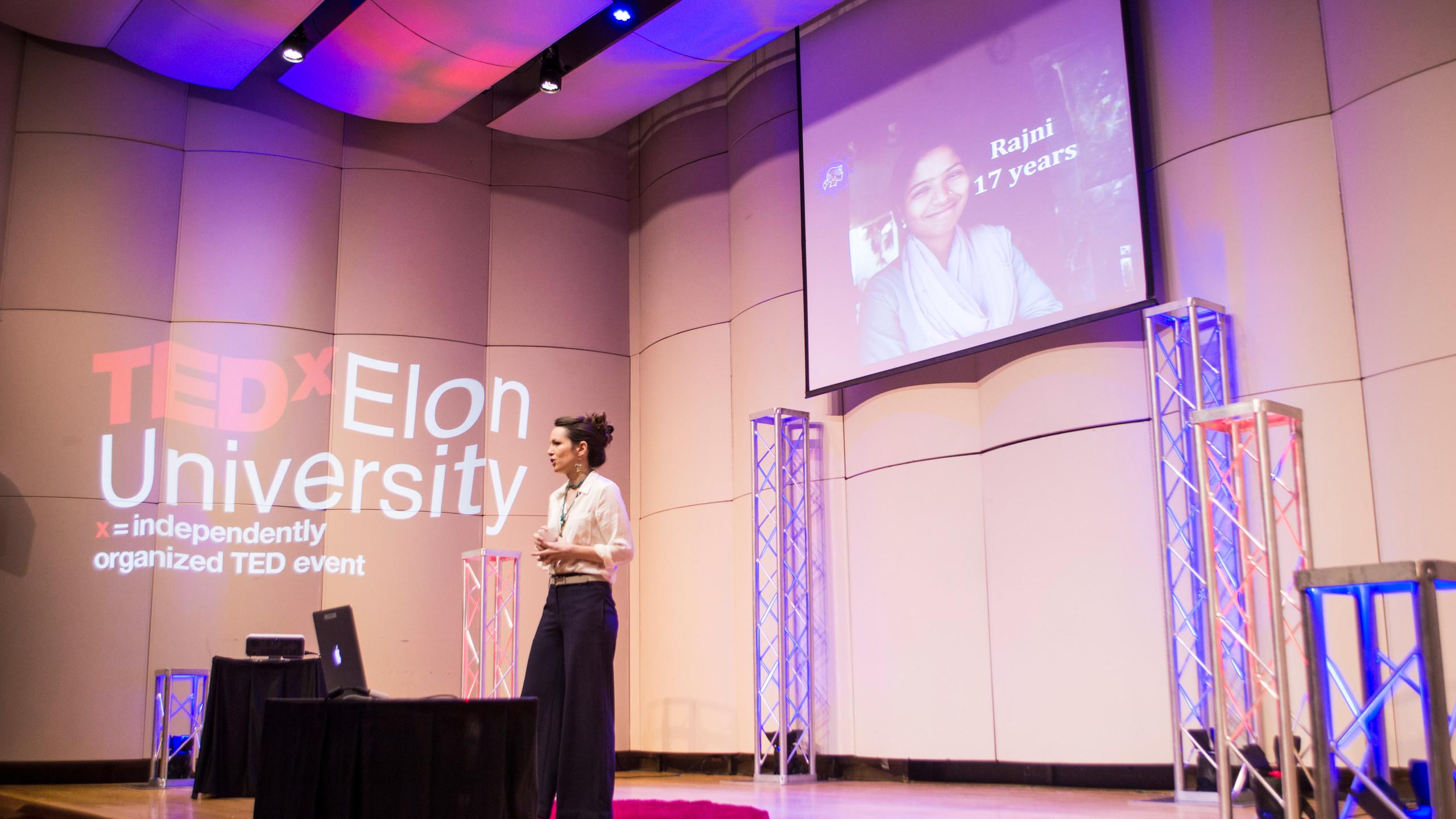 Alyssa Newlon spoke about her work empowering local female leaders in rural India.