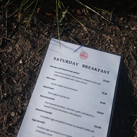 Saturday brunch menu