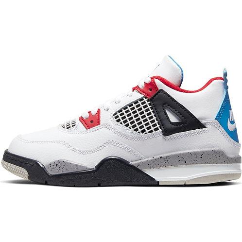 "Air Jordan 4 ""What The"" Pre-School (White/Military Blue-Fire Red)"