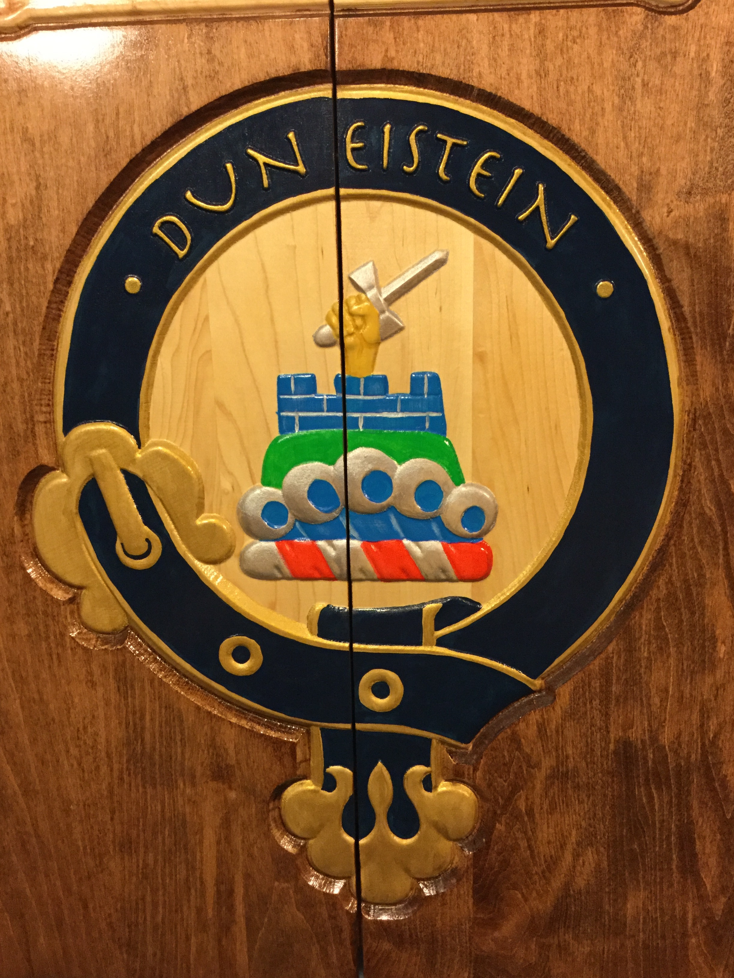 Maple Dart Cabinet with coat of arms