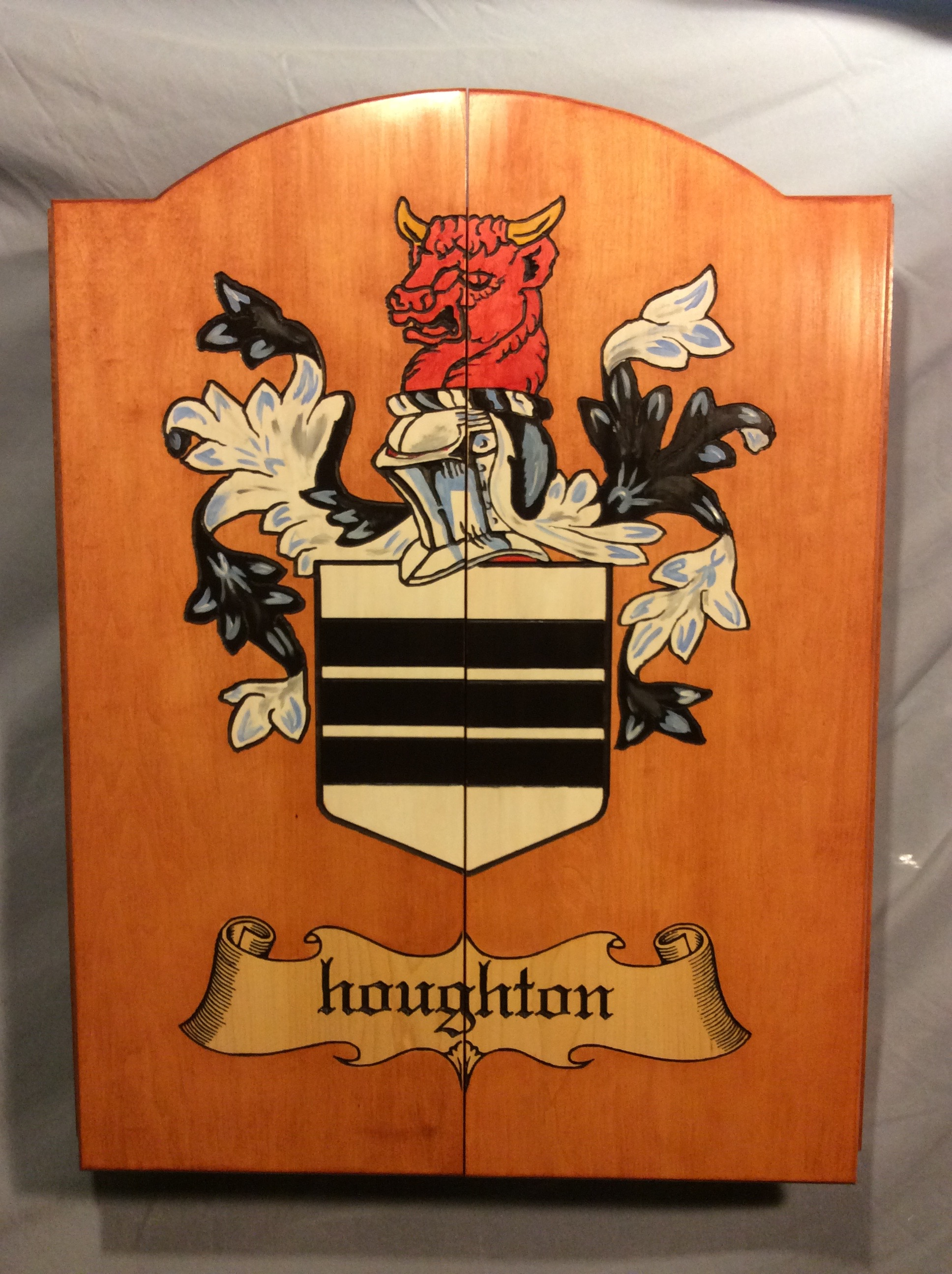 hand painted coat of arms on maple