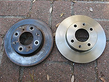 Old and new brake rotor