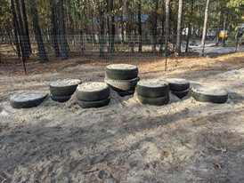 Tire tower at the Dog Park.