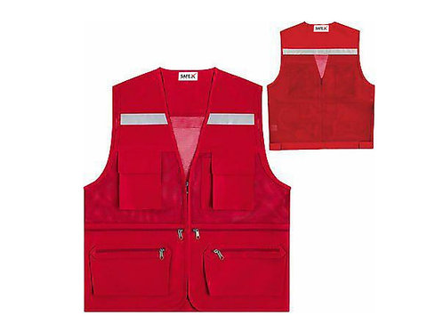 Safety Reflective Mesh Vests Multi Pockets Uniforms Waistcoat Red