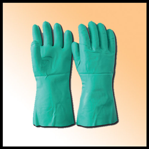 CHEMICAL GLOVES NITRIL COATED GREEN