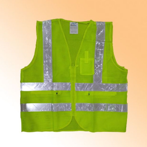 SAFETY VEST MESH WITH 3 POCKET GREEN VAULTEX