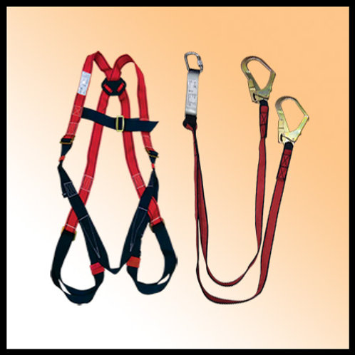 FULL BODY HARNESS WITH DOUBLE HOOK LANYARD - SAFELINE (INDIA)