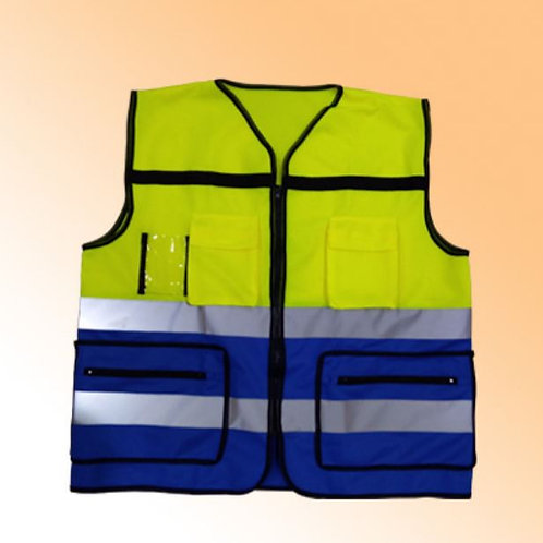 SAFETY VEST YELLOWBLUE 4 POCKET