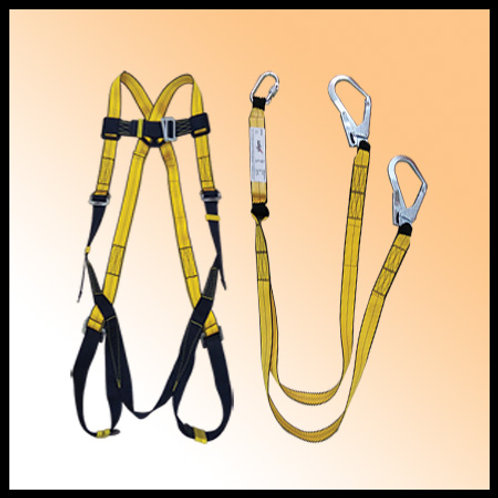 FULL BODY HARNESS WITH DOUBLE HOOK LANYARD - SAFEX (INDIA)
