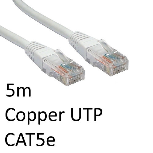 RJ45 (M) to RJ45 (M) CAT5e 5m Grey OEM Moulded Boot Copper UTP Network Cable