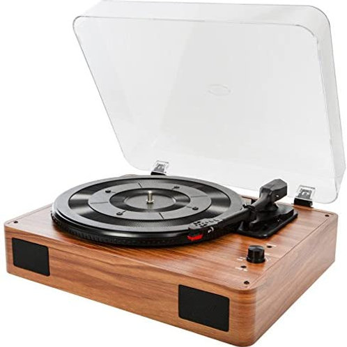 3-Speed Stereo Turntable with Built in Speakers - Wood Effect