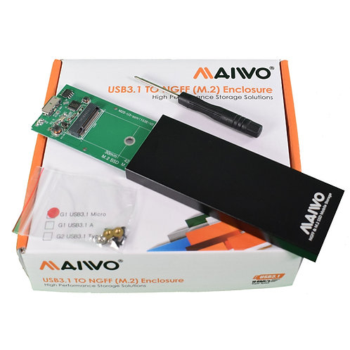USB 3.1 SATA M.2 SSD Enclosure Black