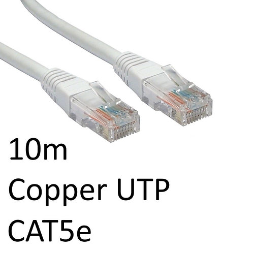 RJ45 (M) to RJ45 (M) CAT5e 10m Grey OEM Moulded Boot Copper UTP Network Cable