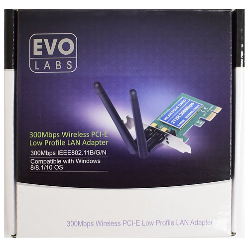 Evo Labs PCI-Express Low Profile N300 WiFi Card with Detachable Antennas