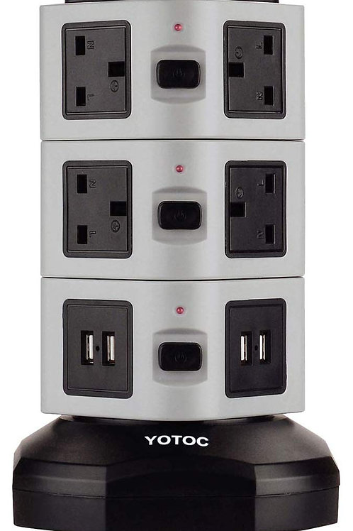 10 Way Outlet Switched Surge Protector Tower Power Strip With 4 USB Ports