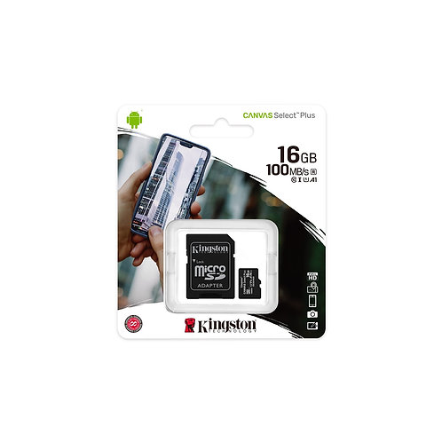 Kingston Canvas Select Plus 16GB Micro SD UHS-I Flash Card with Adapter