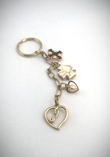 Hearts and Crosses Keychain