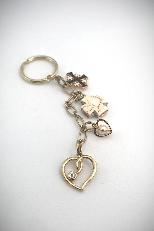 Hearts and Crosses Keychain