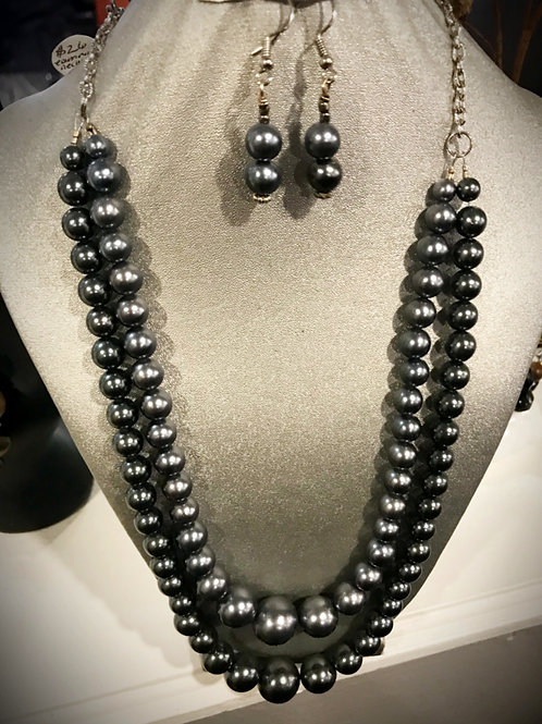 Two Strand Gray Beaded Necklace & Earring Set
