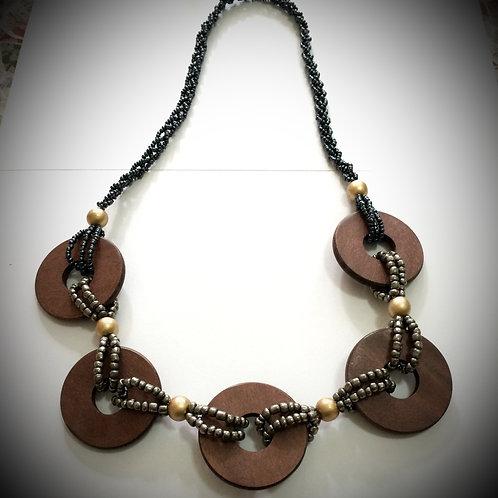 Boho Beachy Wooden Necklace
