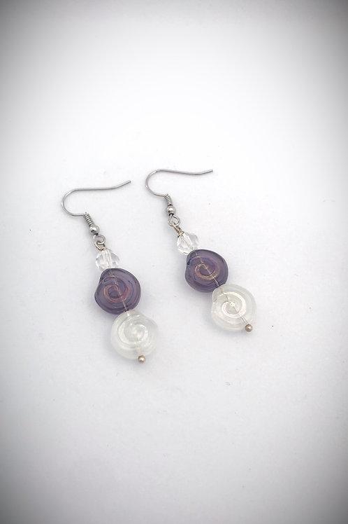 Purple and Clear Swirl Earrings