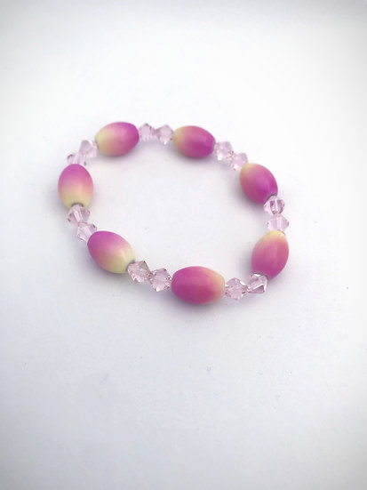 Pink Crystal and Beaded Bracelet