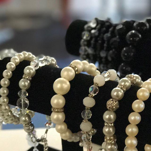 Faux Pearl & Crystal Bracelets