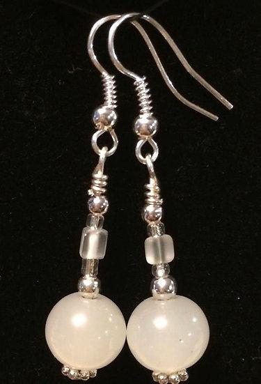 Opaque White Beaded Earrings