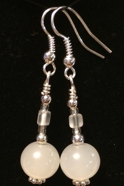 Opaque White Beaded Earrings