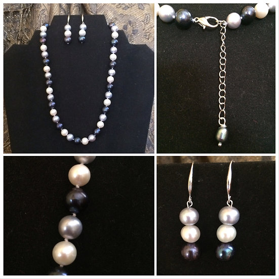 Black, Gray, White Freshwater Cultured Pearls
