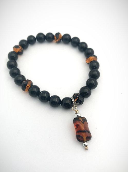 Black & Amber Colored Glass Beaded Bracelet