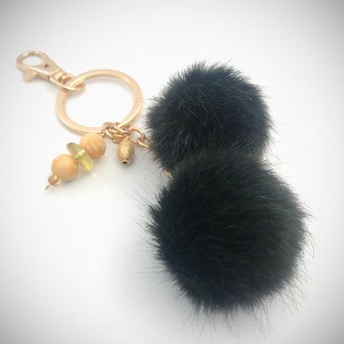 Embellished Black Fuzzy Ball Keychain
