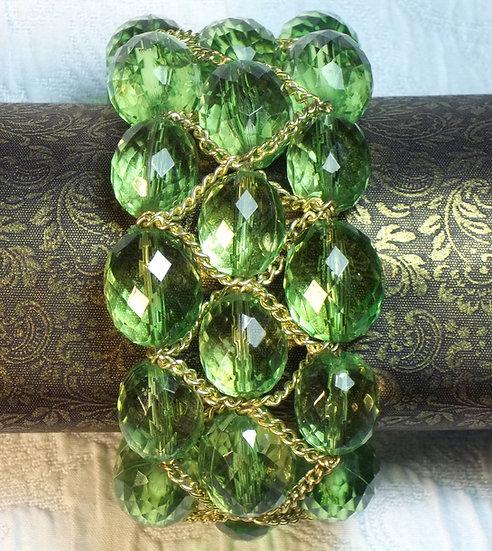 Vintage Green Beaded & Gold Chain Bracelet